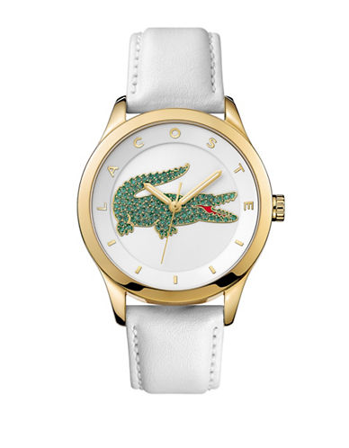 Lacoste Womens Analog Victoria Goldtone and Leather Strap Watch-WHITE-One Size