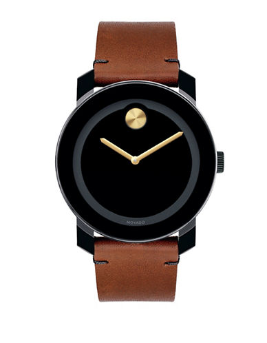 Movado Bold Bold Analog Leather Strap Watch-BROWN-One Size