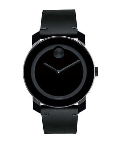 Movado Bold Bold Black Steel and Leather Analog Watch-BLACK-One Size