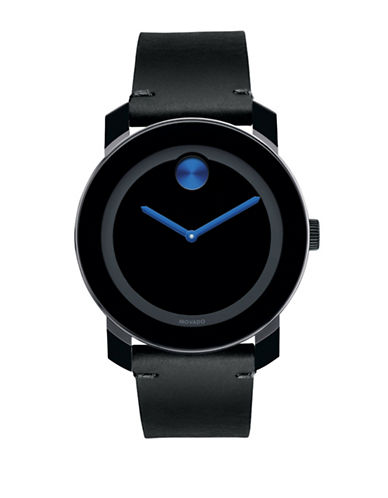 Movado Bold Bold Black Steel and Leather Analog Watch-BLACK/BLUE-One Size