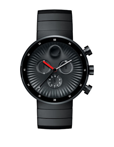 Movado Edge Black Stainless Steel Watch-BLACK-One Size