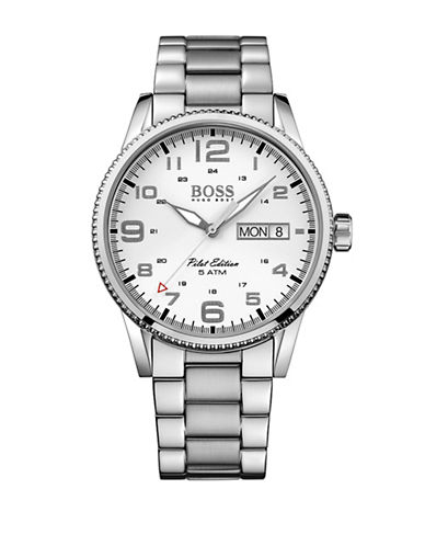 Boss Analog Pilot Monochrome Watch-WHITE-One Size