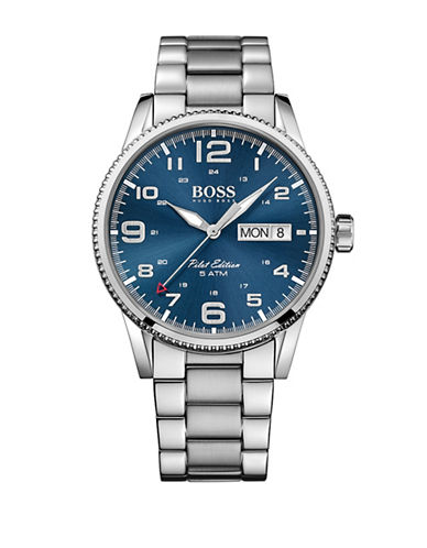 Boss Analog Pilot Midnight Monochrome Watch-BLUE-One Size