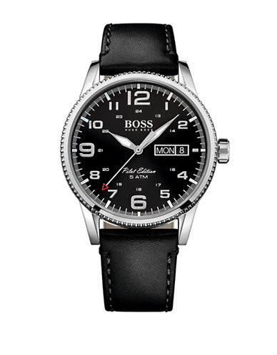 Boss Leather Strap Pilot Watch-BLACK-One Size