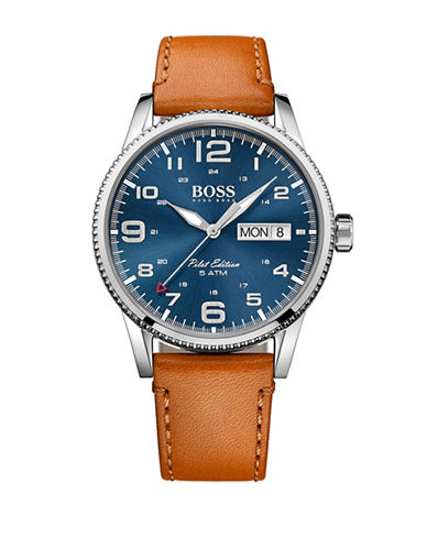 Boss Pilot Contrast Leather Strap Watch-BLUE-One Size
