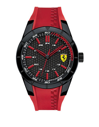 Ferrari Three-Hand Red Rev Silicone Strap Watch-RED-One Size