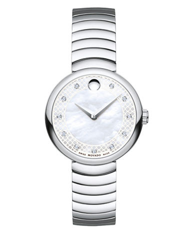 Movado Myla Analog Mother-of-Pearl and Diamond Stainless Steel Bracelet Watch-WHITE-One Size