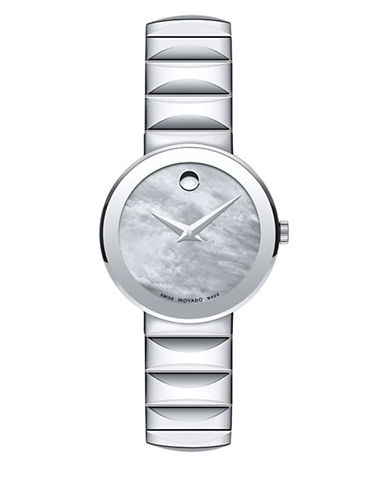 Movado Sapphire Analog Mother-of-Pearl Stainless Steel Bracelet Watch-GREY-One Size