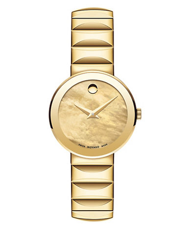 Movado Sapphire Analog Mother-of-Pearl Goldtone Bracelet Watch-YELLOW-One Size