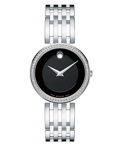 Movado Analog Esperanza Stainless Steel Diamond Watch-BLACK-One Size