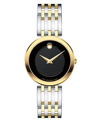 Movado Esperanza Analog Two-Tone Stainless Steel Bracelet Watch-BLACK-One Size