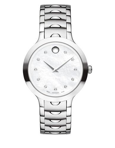 Movado Analog Luno 0.042 TCW Diamond Stainless Steel Bracelet Watch-WHITE-One Size