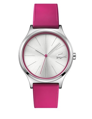 Lacoste Nikita Three-Hand Analog Strap Watch-PINK-One Size