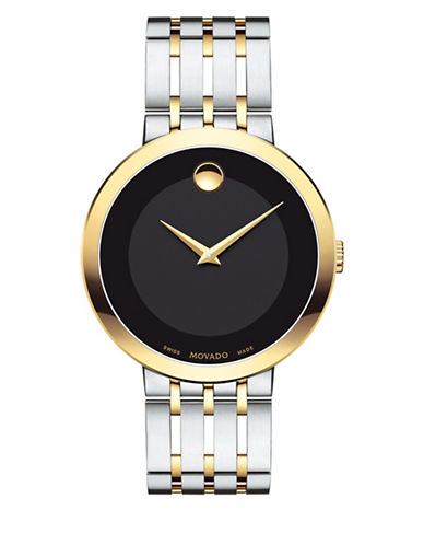 Movado Esperanza Analog Two-Tone Stainless Steel Bracelet Watch-BLACK-One Size