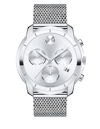 Movado Chronograph Bold Silvertone Stainless Steel Watch-SILVER-One Size