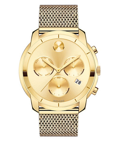 Movado Chronograph Bold Goldtone Stainless Steel Watch-GOLD-One Size