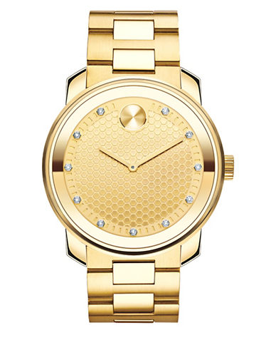 Movado Bold Analog Goldtone 0.110 TCW Diamond Bracelet Watch-GOLD-One Size