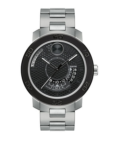 Movado Analog Bold Black LSE and Stainless Steel Watch-SILVER-One Size