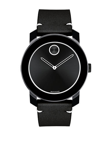 Movado Bold Bold Analog Black Ion-Plated Stainless Steel Leather Strap Watch-BLACK-One Size