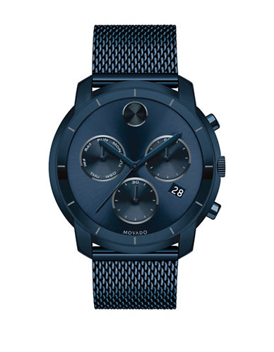 Movado Bold Bold Chronograph Function Blue Ion-Pleated Bracelet Watch-BLUE-One Size