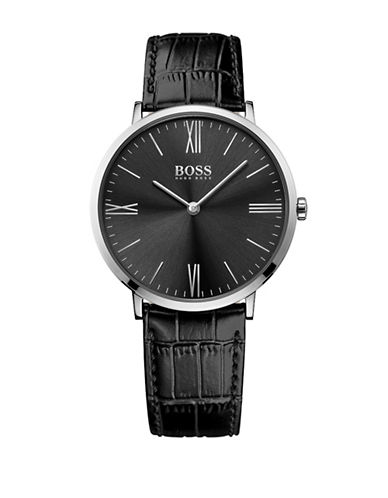 Boss Analog Slim Ultra Jackson Black Dial Leather Strap Watch-BLACK-One Size