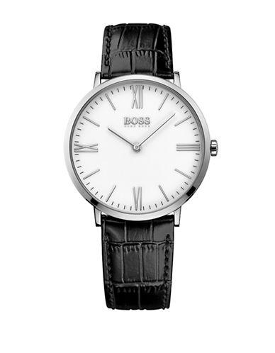 Boss Analog Slim Ultra Jackson White Dial Black Leather Strap Watch-BLACK-One Size