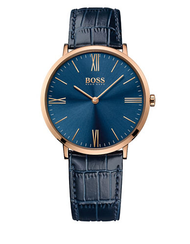 Boss Analog Slim Jackson Goldtone Leather Strap Watch-BLUE-One Size