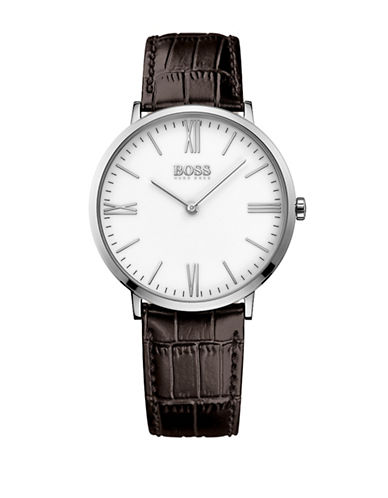 Boss Analog Slim Ultra Jackson White Dial Brown Leather Strap Watch-BROWN-One Size