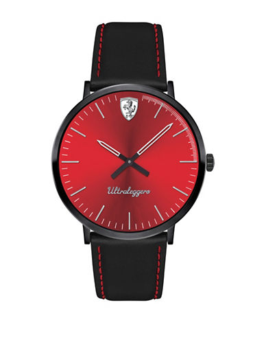 Ferrari Scuderia Ultraleggero Black Leather Strap Watch-BLACK-One Size
