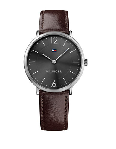 Tommy Hilfiger Analog Grey Dial Brown Leather Strap Watch-GREY-One Size