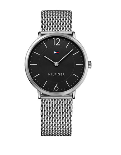 Tommy Hilfiger Silvertone Stainless Steel Analog Mesh Bracelet Watch-BLACK-One Size