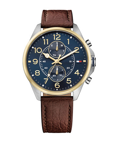 Tommy Hilfiger Dean Multi-Function Leather Watch-BLUE-One Size