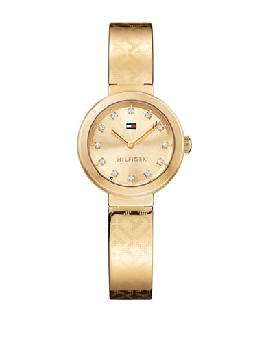 Tommy Hilfiger Goldplated Stainless Steel Analog Bangle Watch-GOLD-One Size