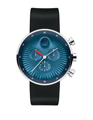 Movado Chronograph Edge Silicone Strap Watch-BLUE-One Size