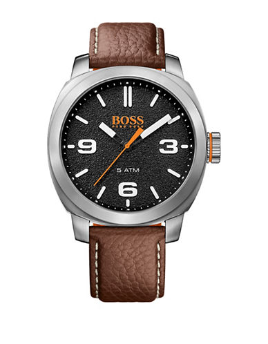 Boss Orange Analog Cape Town Casual Stainless Steel and Leather Strap Watch-BROWN-One Size