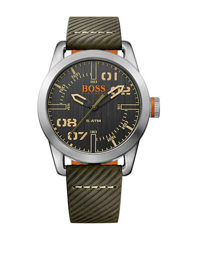 Boss Orange Analog Oslo Stainless Steel and Leather Watch-BLUE-One Size