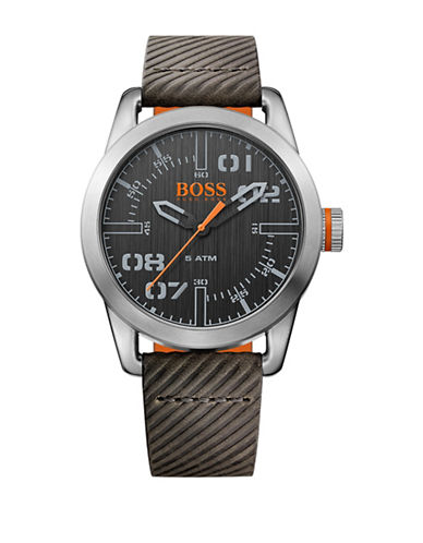 Boss Orange Analog Oslo Stainless Steel and Leather Strap Watch-GREY-One Size