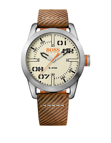 Boss Orange Analog Oslo Stainless Steel and Leather Strap Watch-BROWN-One Size