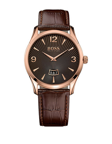 Boss Analog Commander Classic Stainless Steel and Leather Strap Watch-BROWN-One Size