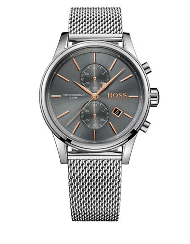 Boss Chronograph Jet Stainless Steel Mesh Bracelet Watch-GREY-One Size