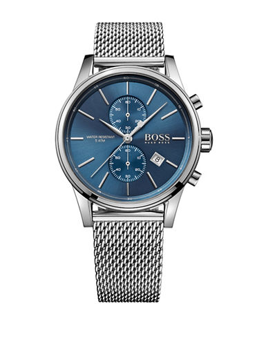 Boss Chronograph Jet Stainless Steel Mesh Bracelet Watch-BLUE-One Size