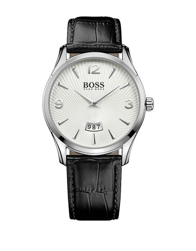 Boss Analog Commander Classic Stainless Steel and Leather Strap Watch-WHITE-One Size
