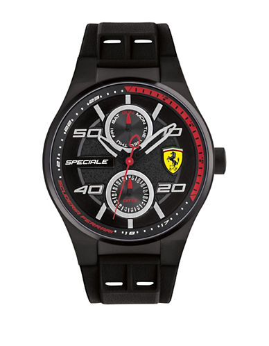 Ferrari Multi-Eye Analog Speciale Stainless Steel Silicone Strap Watch-BLACK-One Size
