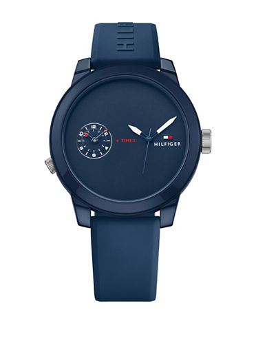 Tommy Hilfiger Blue Chronograph Rubber Strap Watch-NAVY-One Size