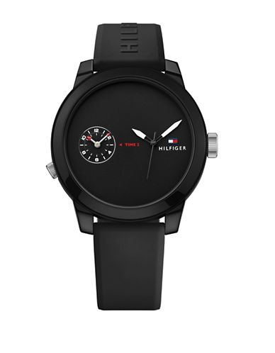 Tommy Hilfiger Black Chronograph Rubber Strap Watch-BLACK-One Size