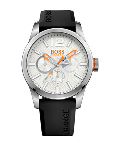 Boss Orange Multi-Eye Paris Silicone and Stainless Steel Silicone Strap Watch-BLACK-One Size