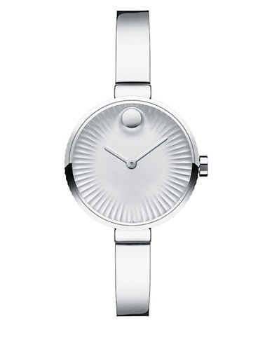 Movado Analog Edge Stainless Steel Bracelet Watch-SILVER-One Size