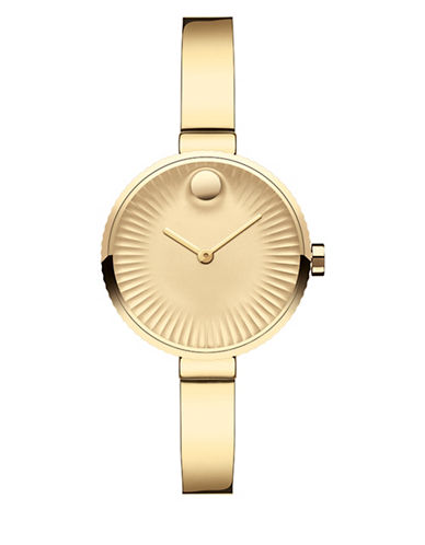 Movado Analog Edge Goldtone Bracelet Watch-GOLD-One Size
