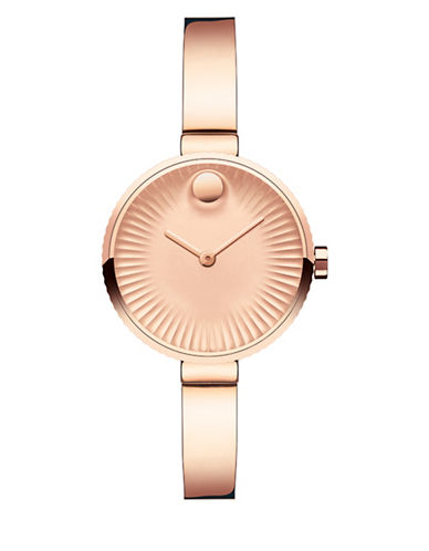 Movado Analog Edge Ionic Rose-Goldtone Bracelet Watch-ROSE GOLD-One Size