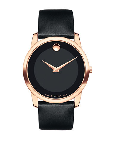 Movado Bold Large Goldtone Stainless Steel Leather Strap Watch-BLACK-One Size